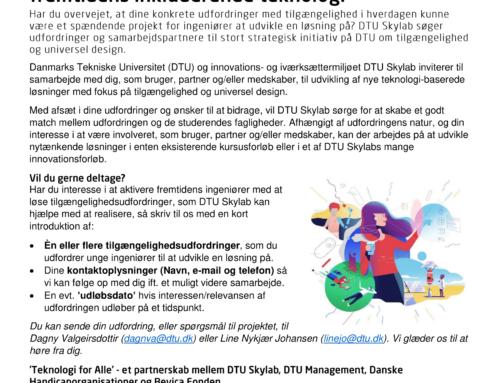 Indsamling af udfordringer med tilgængelighed til nyt initiativ på DTU Skylab